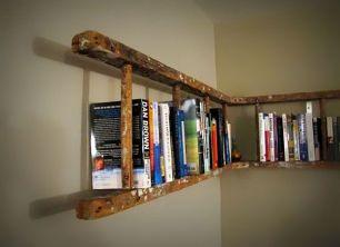 Old-ladder-turned-bookshelf
